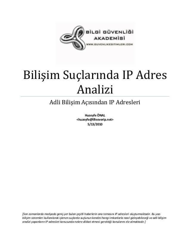 Bilişim Suçlarında IP Adres Analizi