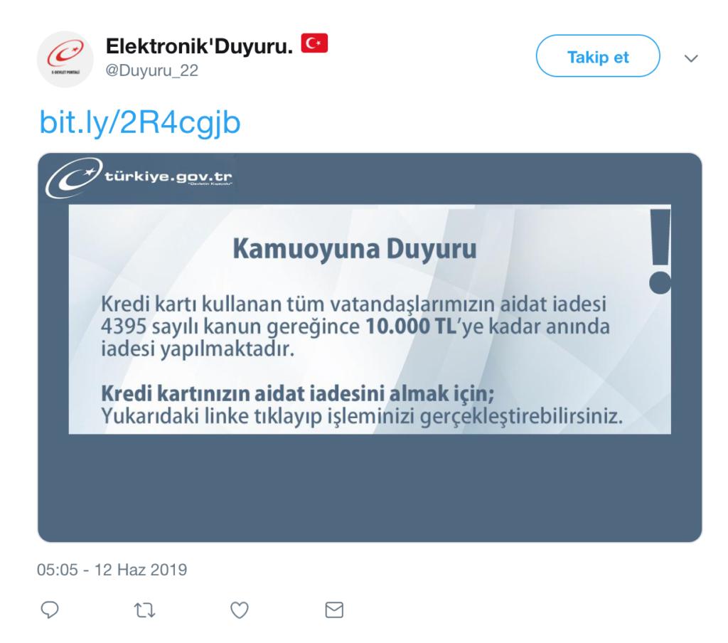 E-devlet oltalama sosyal medya paylaşımı