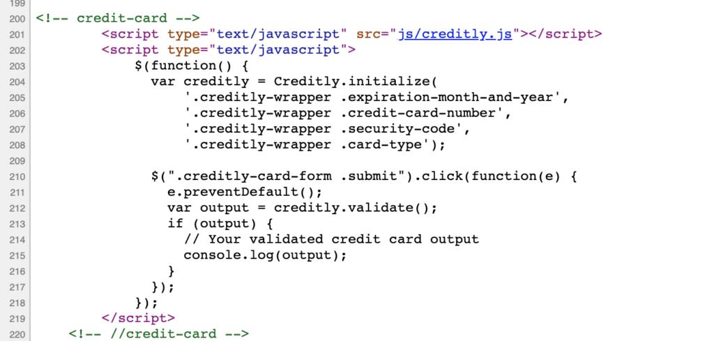 HTML kodu içine gömülmüş credit.ly dosyası 201. satırda görünüyor.