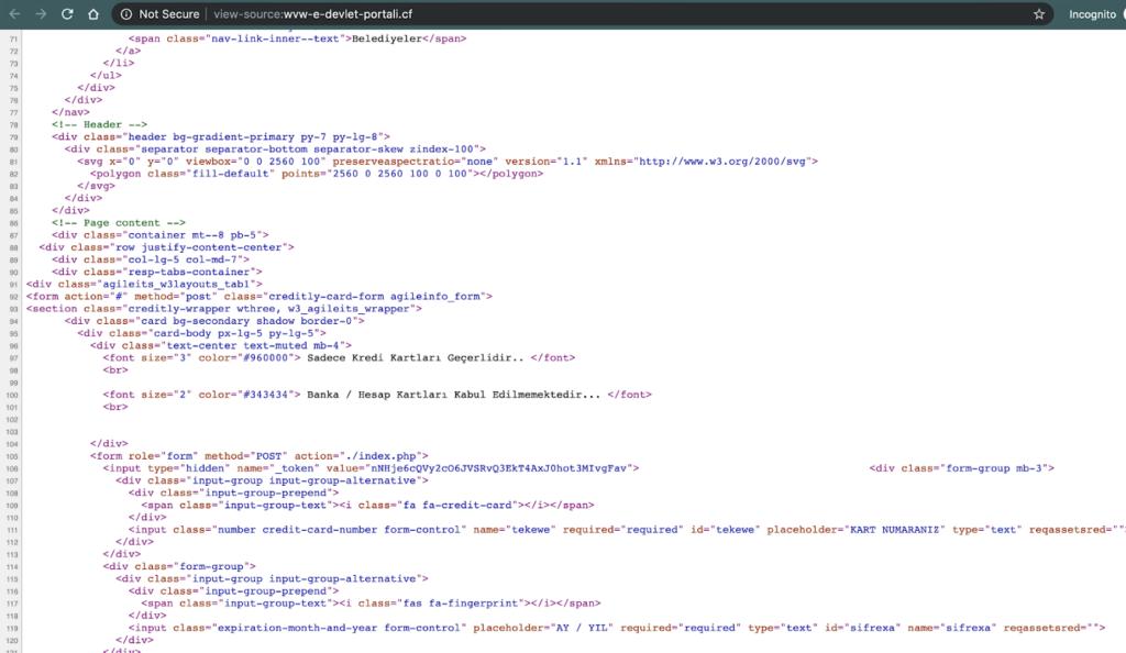 Oltalama web sitesinin kaynak kodu