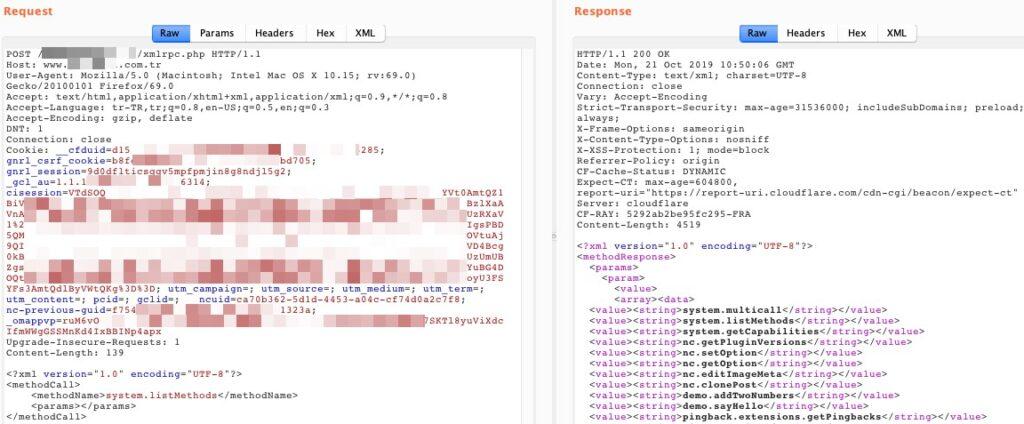 XML-RPC metotlarının listesi